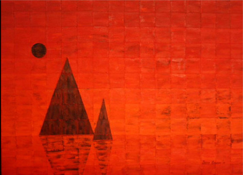 hot, sea, red. orange, landscape. water, reflection,Mindscape 2,ART_2018_18072,Artist : DiSHA GANDHI,Acrylic