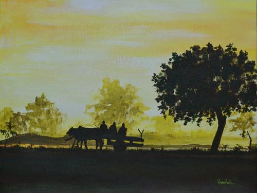 ,VILLAGE MORNING - ORIGINAL CANVAS PAINTING,ART_1180_18137,Artist : Vrushali A Kamthe,Acrylic
