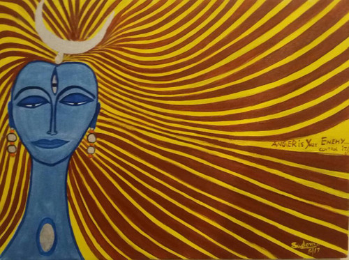 Religious, Shiva, Anger, Enemy,ANGER is your ENEMY Control It,ART_2350_18131,Artist : Dr Sunanda Agarwal,Acrylic