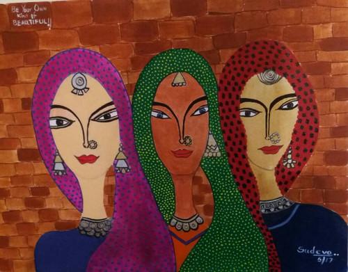 Women, Figurative, Jwellery, beauty,Be Your Own Kind of Beautiful,ART_2350_18130,Artist : Dr Sunanda Agarwal,Acrylic