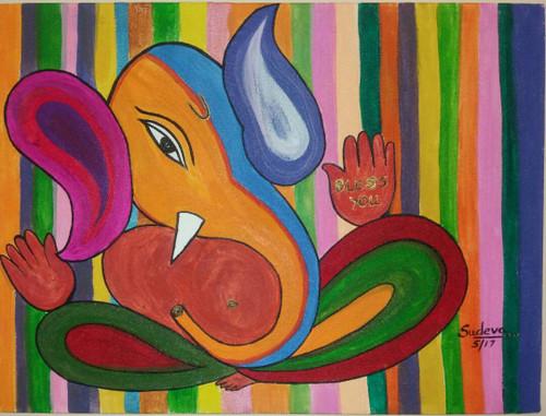 Ganesha,Bless You,ART_2350_18128,Artist : Dr Sunanda Agarwal,Acrylic