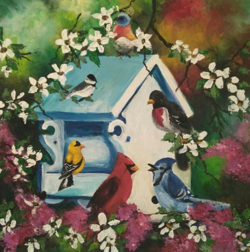 birds,knife painting,flowers,The Bird House,ART_889_18138,Artist : Harpreet Kaur,Acrylic