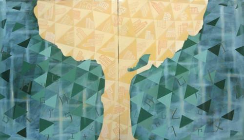 city,deforestation,farming,nature,humans,trees,triangles,alphabets,building,,NEW CITY,ART_2187_17614,Artist : Neelam Verma,Acrylic