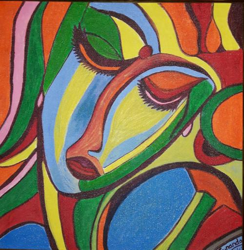 Mutlicolored, serenity, woman,SERENITY,ART_2350_18191,Artist : Dr Sunanda Agarwal,Acrylic