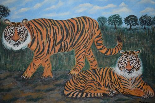 Tiger,Two tigers,ART_2354_18158,Artist : Prabhavathi Subramanya,Acrylic
