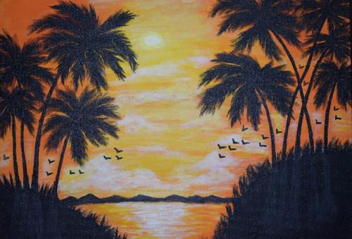 sunset,Sunset Mountain,ART_2354_18157,Artist : Prabhavathi Subramanya,Acrylic