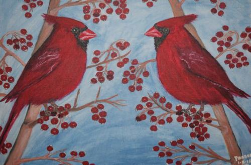 Birds,Birds of the same feather,ART_2354_18154,Artist : Prabhavathi Subramanya,Acrylic