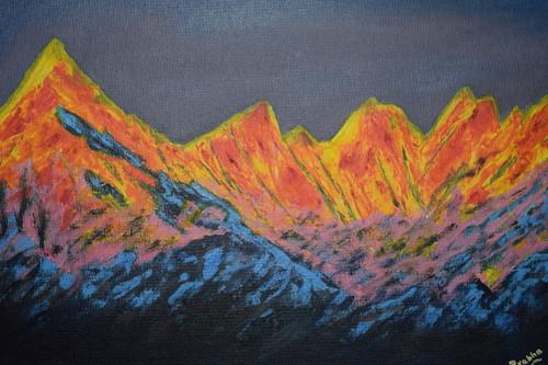 Himalaya,Himalayan mountain,ART_2354_18148,Artist : Prabhavathi Subramanya,Acrylic