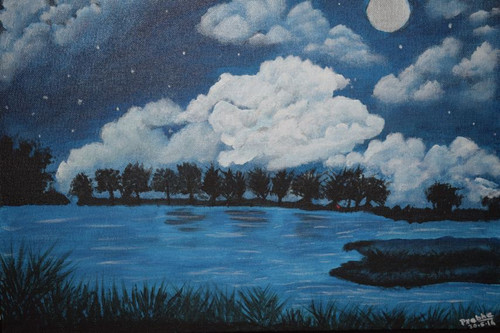 night,Cloudy night sky,ART_2354_18147,Artist : Prabhavathi Subramanya,Acrylic