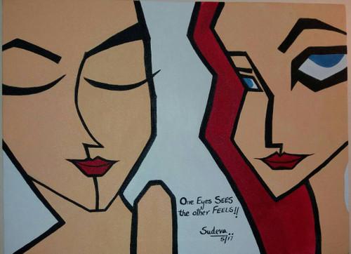 Eyes, feelings,One Eyes SEES the other FEELS,ART_2350_18127,Artist : Dr Sunanda Agarwal,Acrylic