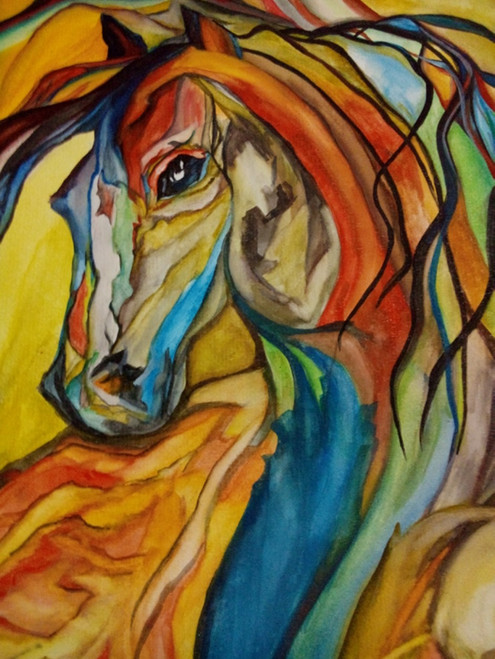 horse,wildlife,spirits,soulful,highspirits,colorful,,colors of the spirit,ART_2343_18105,Artist : Nisha Gangola,Water Colors