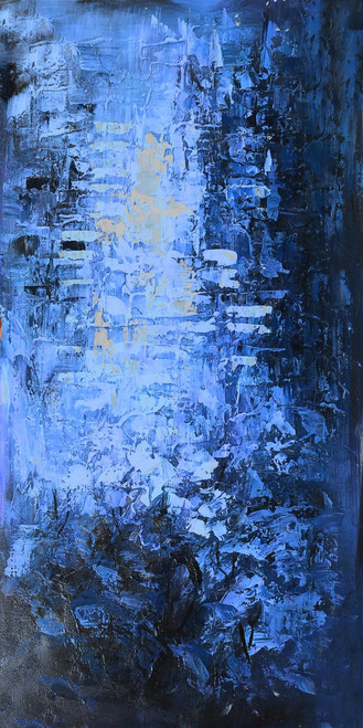 StandingBlueGates - 24in X 48in,25ABT747_2448,Blue, Violet, Mauve,60X120 Size,Abstract Art Canvas Painting