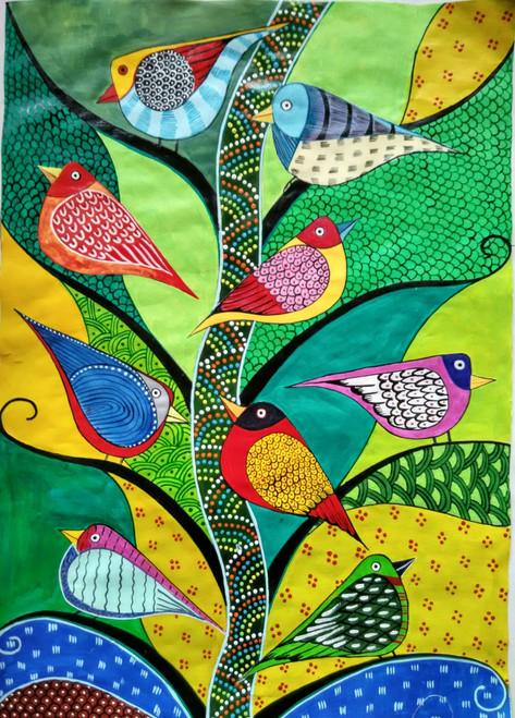,Tribal art Sparrow-Kilbil,ART_1243_18302,Artist : Ujwala Chavan,Acrylic