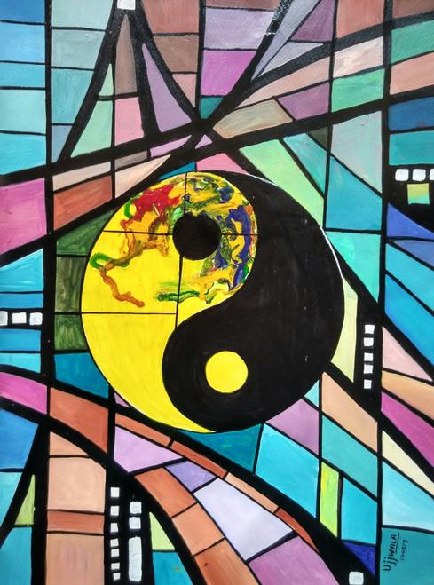 ,Yin & yang,ART_1243_18343,Artist : Ujwala Chavan,Acrylic
