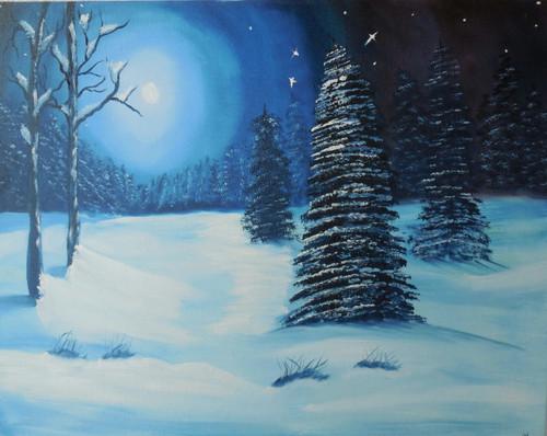 Snow, stars,A beautiful night,ART_1512_18328,Artist : Prachi Diwania,Oil