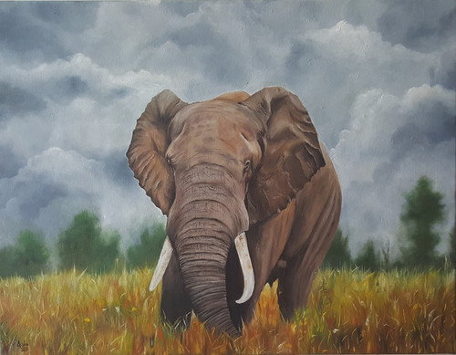 elephant, oil painting, forest,Majestic Solitude,ART_2117_18354,Artist : Asha Suresh,Oil
