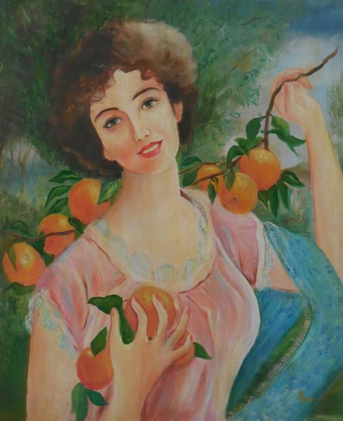 Girl, oranges,Beautiful maiden,ART_1512_18329,Artist : Prachi Diwania,Oil