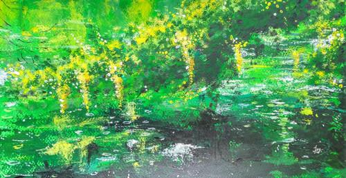 Lake side,Tree, Water, Rain drops,Cold, Pleasure,Lake side Branches,ART_2144_18440,Artist : Anirban Kar,Acrylic
