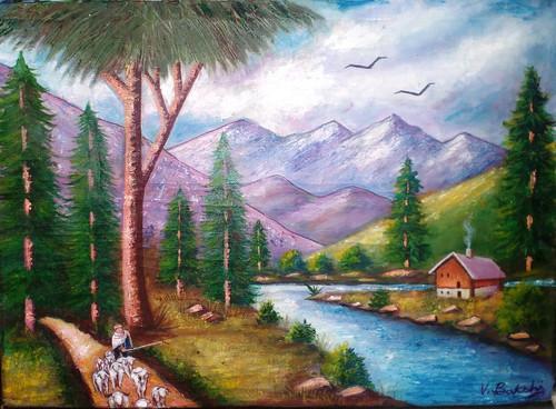 Landscape on canvas with multiple colors,Landscape on canvas,ART_2360_18433,Artist : Vinod Bakshi,Oil