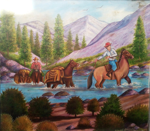 Oil painting on hard board with multiple colours ,Shopkeeper are crossing the lake with his transport,ART_2360_18432,Artist : Vinod Bakshi,Oil