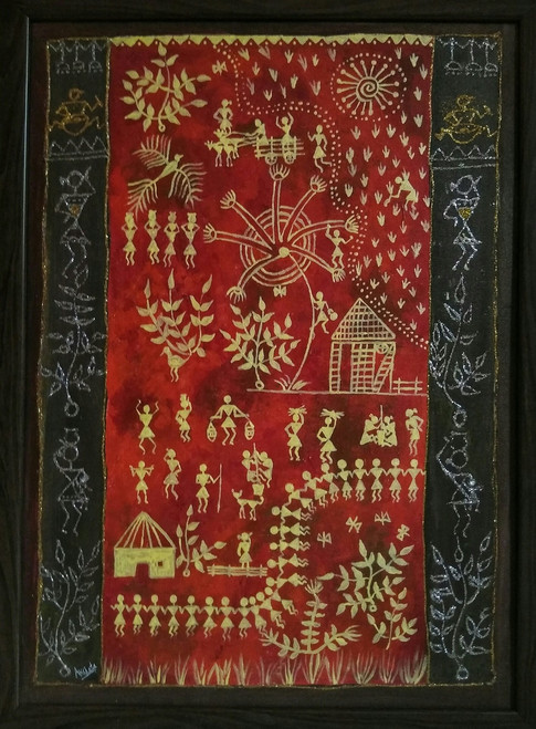 warli daily life,Warli Art,ART_1329_13535,Artist : Akshata Indore,Mixed Media