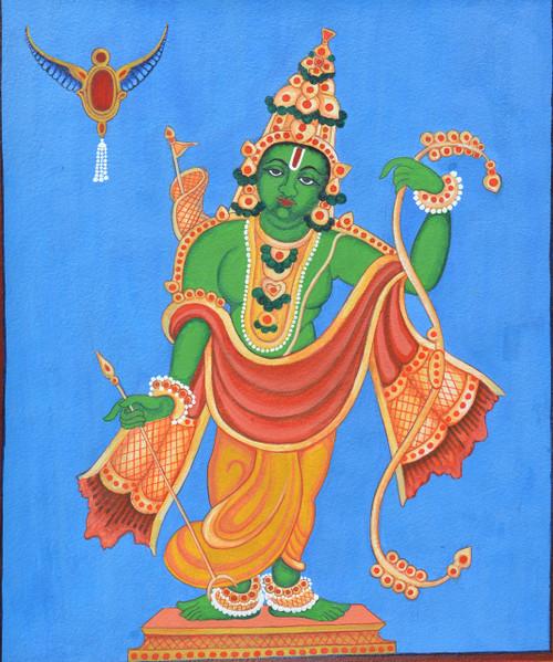 Rama, religious, Mysore Traditional painting, water colour,Kodanda Rama,ART_1489_18143,Artist : Radhika Ulluru,Water Colors