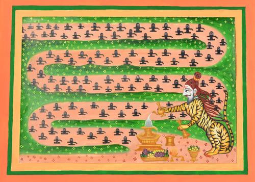 shiva, purushamriga, mysore traditional painting, devotion, iconography,siva worshiped by purushamriga,ART_1489_15237,Artist : Radhika Ulluru,Water Colors
