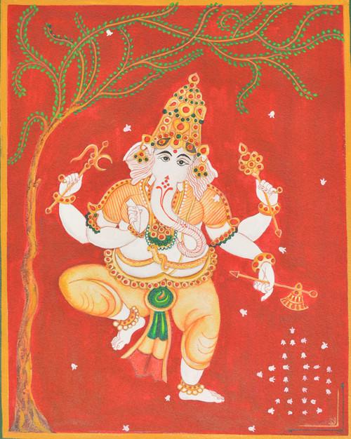 ganesha, shiva, mysore traditional, music, dance, devotional,ganesa dancing infront of siva,ART_1489_15236,Artist : Radhika Ulluru,Water Colors