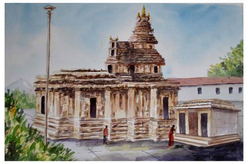Srengeri saradamba Temple, monuments, landscape,Sringeri Saradaba temple,ART_1489_12147,Artist : Radhika Ulluru,Water Colors