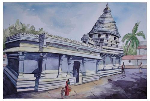 Gokarna temple, monuments, landscape, ,Gokarna Temple Landscape,ART_1489_12145,Artist : Radhika Ulluru,Water Colors