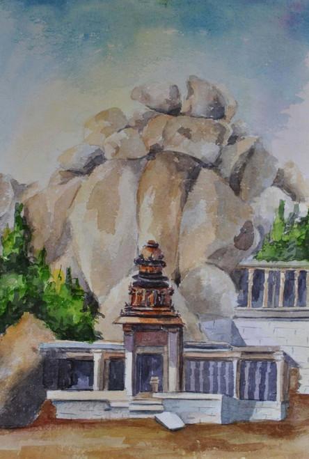 hampi, monuments, landscape,hamoi landscape,ART_1489_12135,Artist : Radhika Ulluru,Water Colors