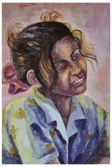 tribal people, girl, thanks, portraite,Thank you,ART_1489_12131,Artist : Radhika Ulluru,Water Colors