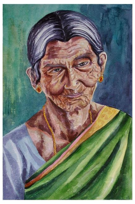 portrait, old lady, village people, village life,Old lady in green saree,ART_1489_12129,Artist : Radhika Ulluru,Water Colors