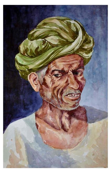 portrait, old man, village people, village life ,Angry old man,ART_1489_12128,Artist : Radhika Ulluru,Water Colors