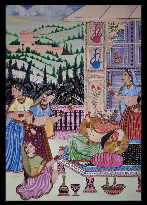 enjoy, rajasthani painting,feminine, drinking, happiness,Rani enjoying drink with her attendants,ART_1489_12121,Artist : Radhika Ulluru,Mixed Media