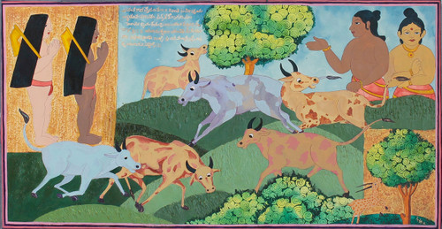 Cow herd , nature, village life, mysore traditional, folk art, vasantha maasa,Cow herd and village boys in Vasantha Maasa,ART_1489_12099,Artist : Radhika Ulluru,Acrylic