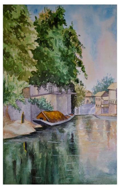 river side, landscape, water colour, nature,Boat-house,ART_1489_12094,Artist : Radhika Ulluru,Water Colors