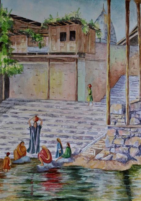 nature, river side, village life, landscape ,Reverside meeting,ART_1489_12093,Artist : Radhika Ulluru,Water Colors