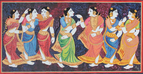 women, south India, traditional, folks,Gossiping women folk,ART_1489_12091,Artist : Radhika Ulluru,Acrylic