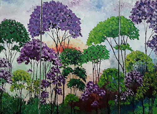 Forest , jungle , trees , oil , painting , palette knife , textured , original , bright , multi canvas , purple , green , white , magenta ,Delight,ART_1000_18106,Artist : Shilpi Patel,Oil