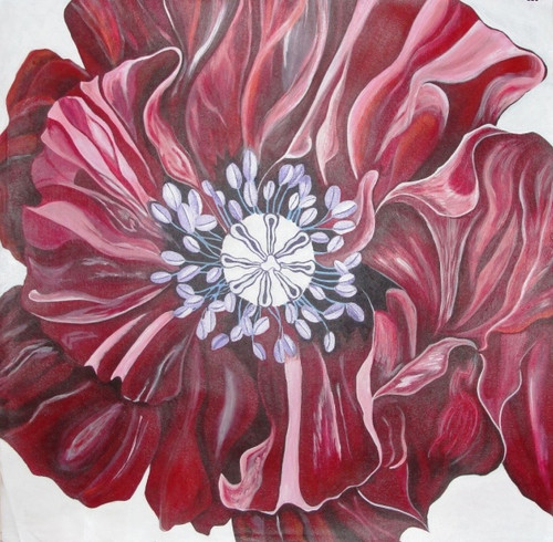 Delicate, flower, dark red flower, light white shades flower etc,Delicate,ART_1000_2168,Artist : Shilpi Patel,Acrylic
