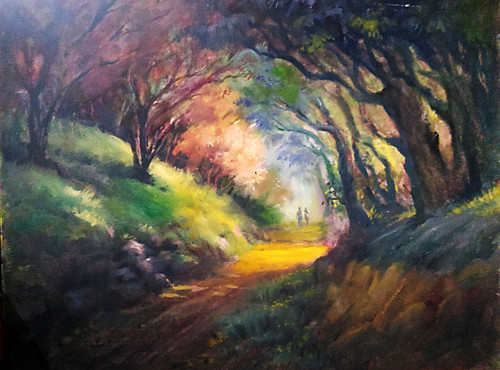 Romance, Walk way, Morning walk, couple, lovers,Mornig Walk,ART_662_18560,Artist : Sankara Babu,Oil