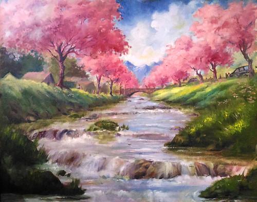Peace, Tranquility, Waterway, Trees,Pink Waterway,ART_662_18556,Artist : Sankara Babu,Oil
