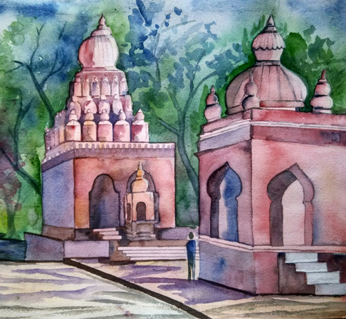 ,wai temple,ART_1243_18521,Artist : Ujwala Chavan,Water Colors