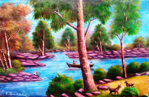 Landscape on canvas,Landscape ,ART_2360_18605,Artist : Vinod Bakshi,Oil