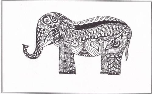 ,Elephant ,ART_2475_18612,Artist : Sridevi Karthikeyan,Ink