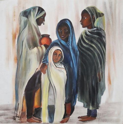 ,Age of solitude,ART_2467_18551,Artist : Varinder Kaur,Fabric Paints