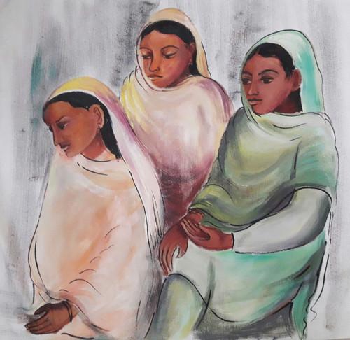 sisters,3 Sisters,ART_2467_18549,Artist : Varinder Kaur,Fabric Paints