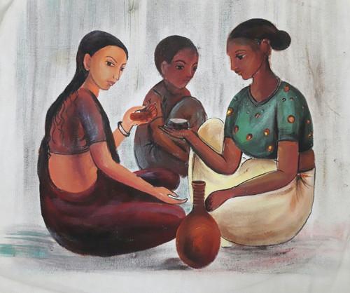 Tribal, Bride,The tribal bride,ART_2467_18548,Artist : Varinder Kaur,Fabric Paints