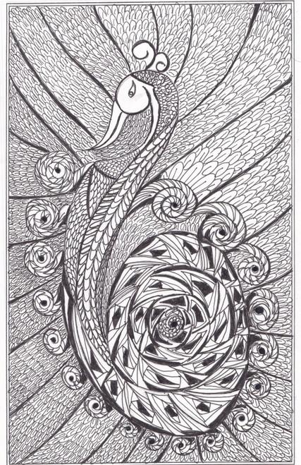 ,Dancing peacock,ART_2475_18717,Artist : Sridevi Karthikeyan,Ink
